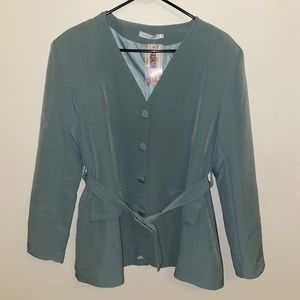 Green Belted Blazer with Buttons and Shoulder Pads